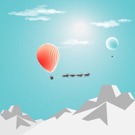 Christmas card. Santas flight in a balloon over the snowy mountains