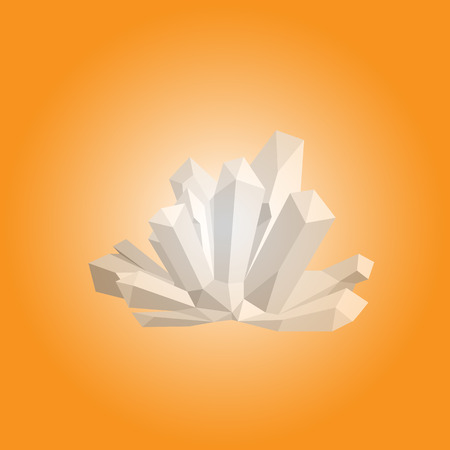 Mineral crystal with white glow. Orange background.