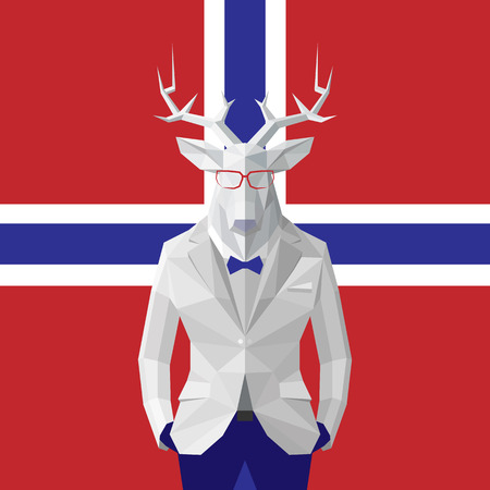 Stylish deer in black suit. Norway flag background.Glasses.