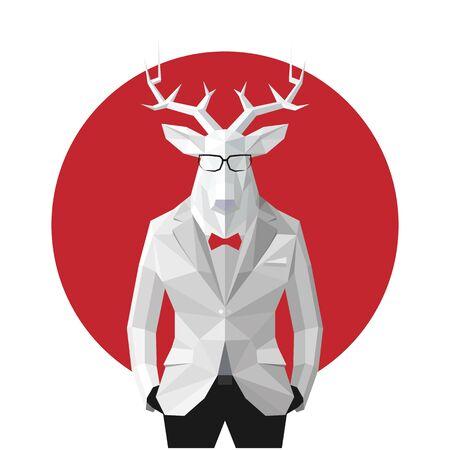 黒のスーツでスタイリッシュな鹿。日本の旗の背景。メガネ。