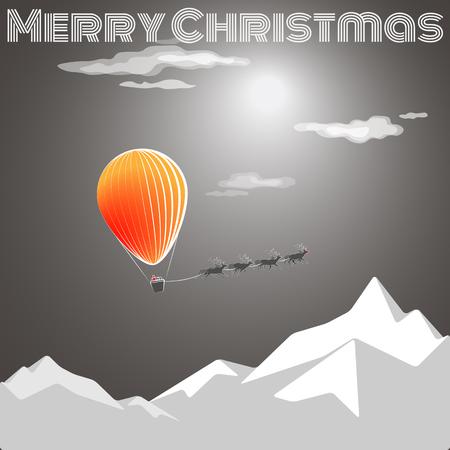 サンタさんとクリスマスは来ています。オレンジ色の輝き、熱気球・空飛ぶ鹿のクリスマス カード。メリークリスマス! 写真素材 - 67343274
