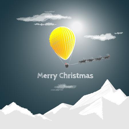 サンタさんとクリスマスは来ています。黄色の熱気球・空飛ぶ鹿のクリスマス カード。メリークリスマス! 写真素材 - 67343209
