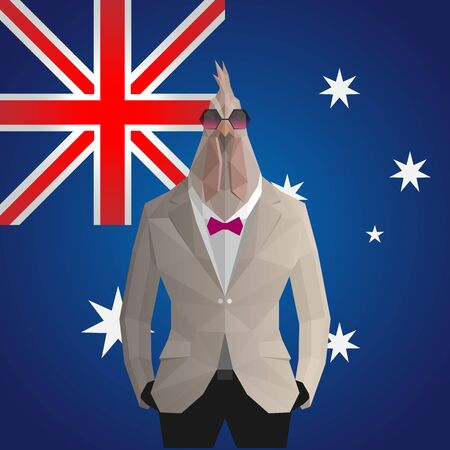 Cock. Australia flag background. Illustration