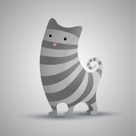 Cute cat. Gray stripes.