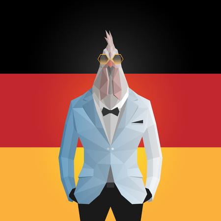 Cock. German flag background.