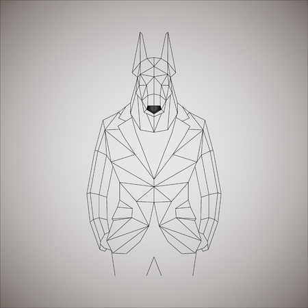 anthropomorphic: Linear anthropomorphic dog in jacket. Illustration