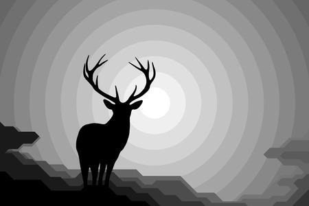 Deer. Silhouette, stag, night. Stock Illustratie