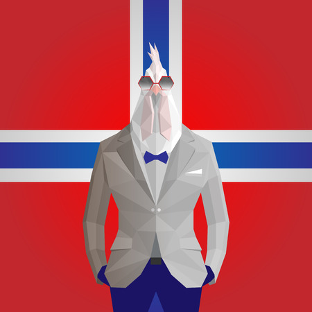 Cock. Norway flag background.
