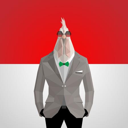 bandera de polonia: Cock. Polish flag background.