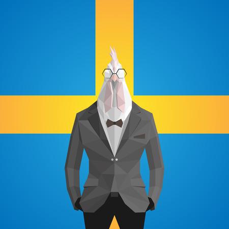 Cock. Sweden flag background.