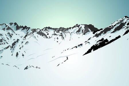 snow mountains: Morning snow mountains & blue sky