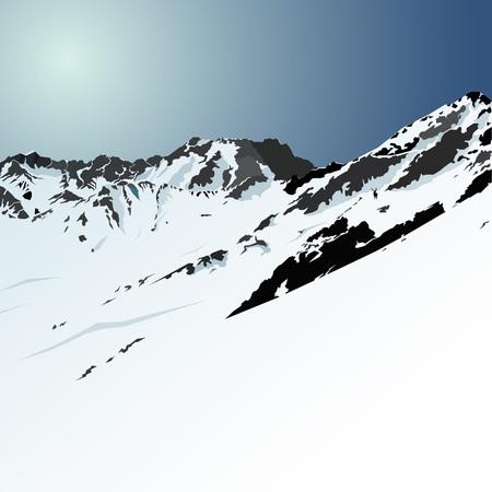 Morning snow mountains & blue sky