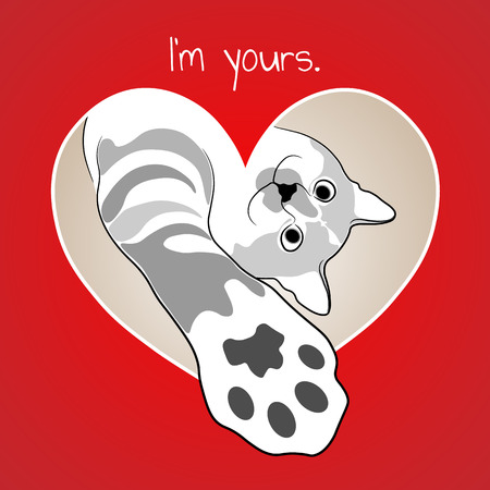 funy: Funy cat. Valentine card. Illustration