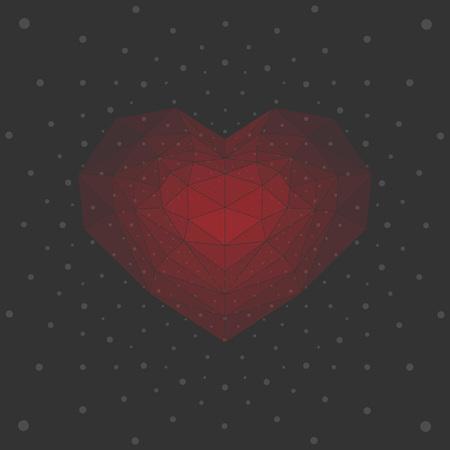 ruby: Ruby heart, dark background.