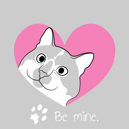 Cat in pink heart. Valentine card.