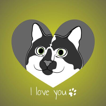 Cat in green heart. Valentine card.