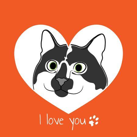 Cat in orange heart. Valentine card.