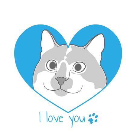 Cat in blue heart. Valentine card. Illustration