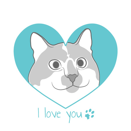 Cat in turquoise heart. Valentine card.