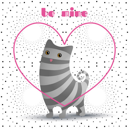 Cute cat in pink heart. Gray stripes. Illustration