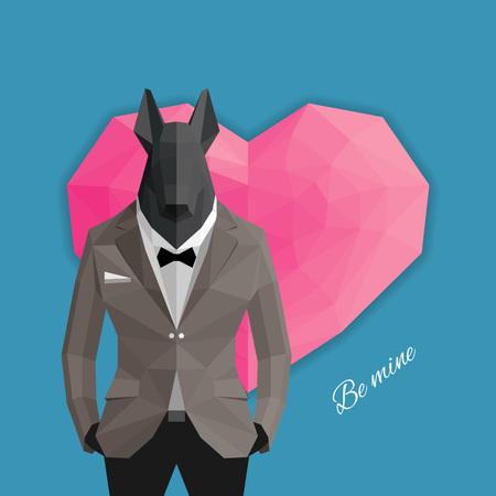 card suits symbol: Valentine card. Love dog.