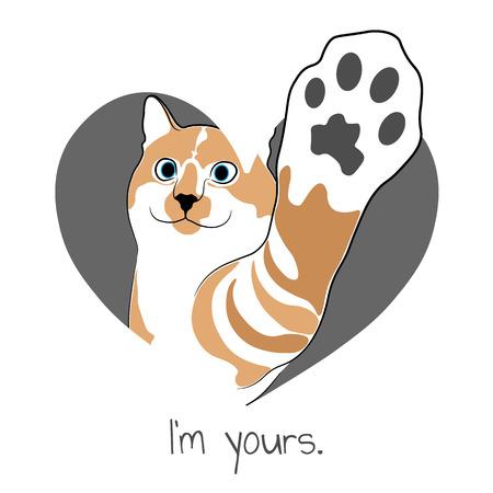 Cat in gray heart. Valentine card. Illustration