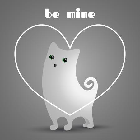 Cute white cat in white, linear heart.