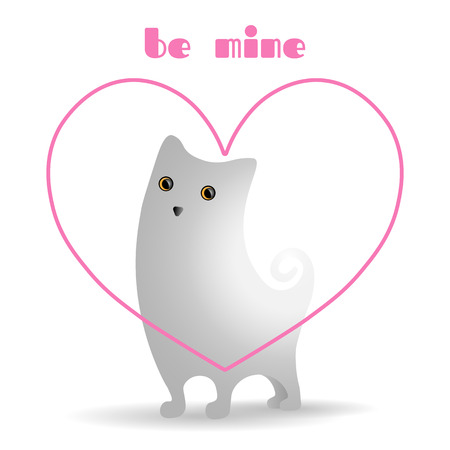 Cute white cat in bright, pink, linear heart.