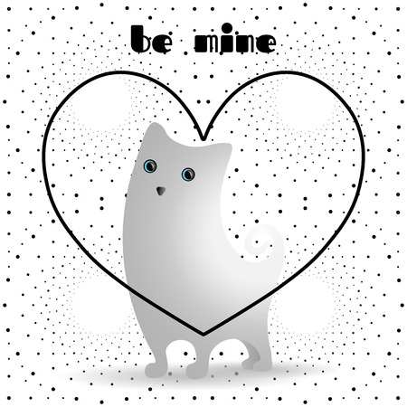 grey cat: Cute white cat in black, linear heart. Dotted pattern background. Illustration