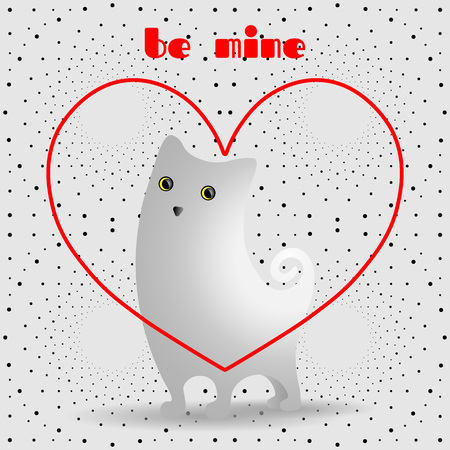 Cute white cat in red, linear heart. Dotted pattern background.