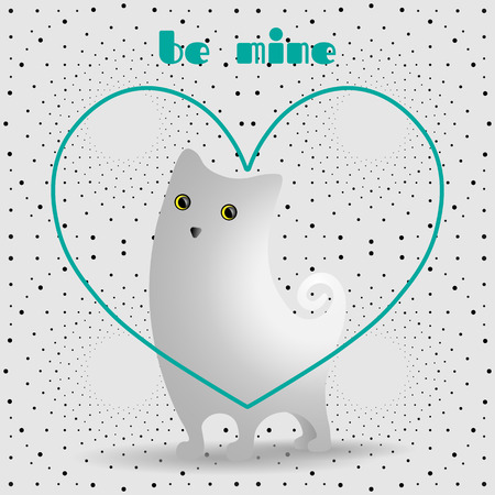 Cute white cat in turquoise, linear heart. Dotted pattern background. Illustration