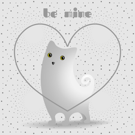 grey cat: Cute white cat in gray, linear heart. Dotted pattern background.