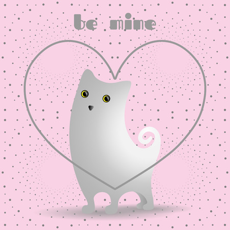 Cute white cat in gray, linear heart. Dotted pattern background pink.