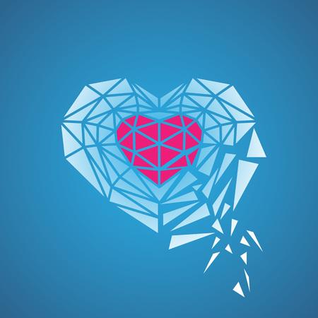 sentiment: Broken heart shell . Blue background Illustration