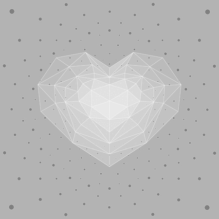 ruby: Ice heart, gray dots background.