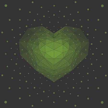 sentiment: Green cristal heart. Illustration