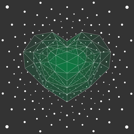 cristal: Green cristal heart, white dots background. Illustration