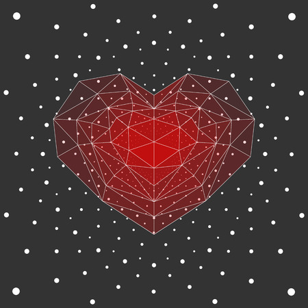 ruby: Ruby heart, white dots background.