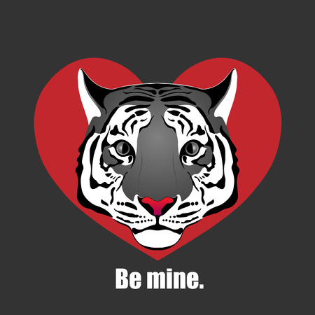 Tiger. Love tiger in red heart.