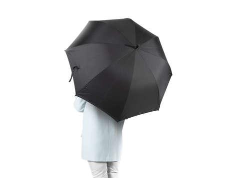 umbrela: Women stand backwards with black blank umbrella opened mock up isolated.