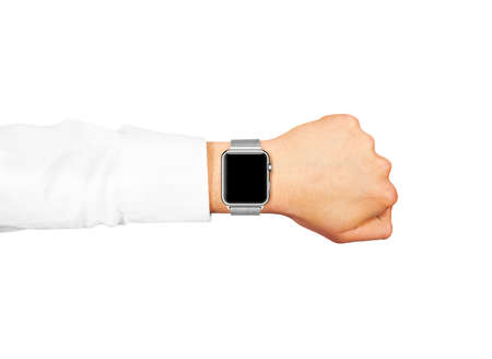 hand wear: Smart watch blank screen mock up wear on the hand isolated.