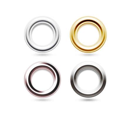 그로멧 세트 격리. 금속, 황동, 강철, 금,은 구멍. 스톡 콘텐츠