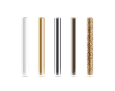 metal pipes: Metal pipes set isolated on white.