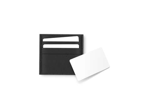 card holder: Black leather card holder with blank white card mock up isolated. Stock Photo