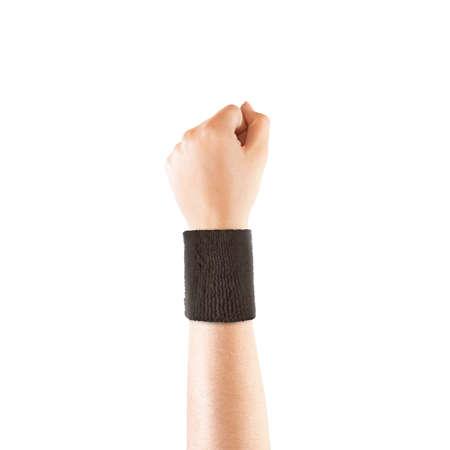 wristband: Blank black wristband mockup on hand, isolated.