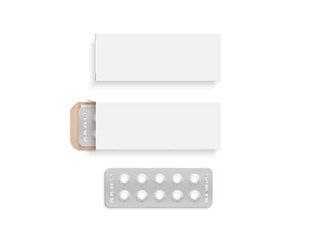 blank template: Blank white pill box design mockup set, isolated, 3d illustration. Stock Photo