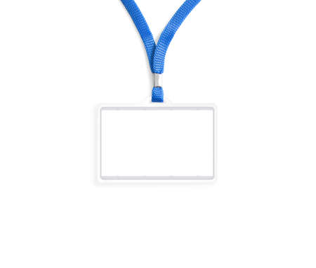 ides: Blank bagde mockup isolated on white. Plain empty name tag mock up hanging on neck with string.