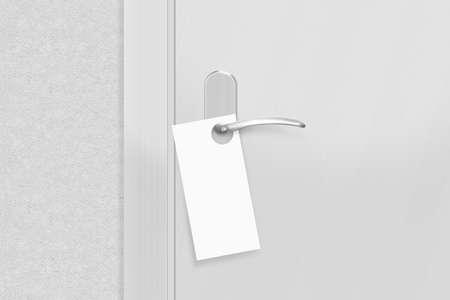 flier: Door knob with blank flyer mock up. Empty white flier mockup hang on door handle. Leaflet design on entrance doorknob.