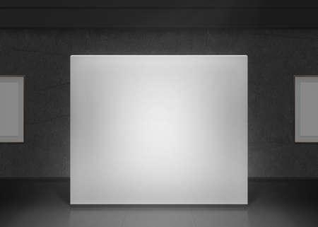 Moderne mockup galerie mur dans l'obscurité. salle du musée foncé avec des images blanches sur le mur. Banque d'images - 57169314