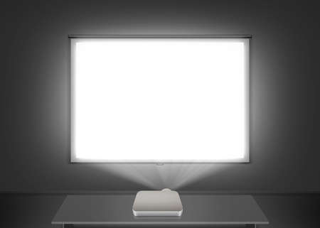 Blank projector screen mockup on the wall. Projection light in darkness. Stock Photo